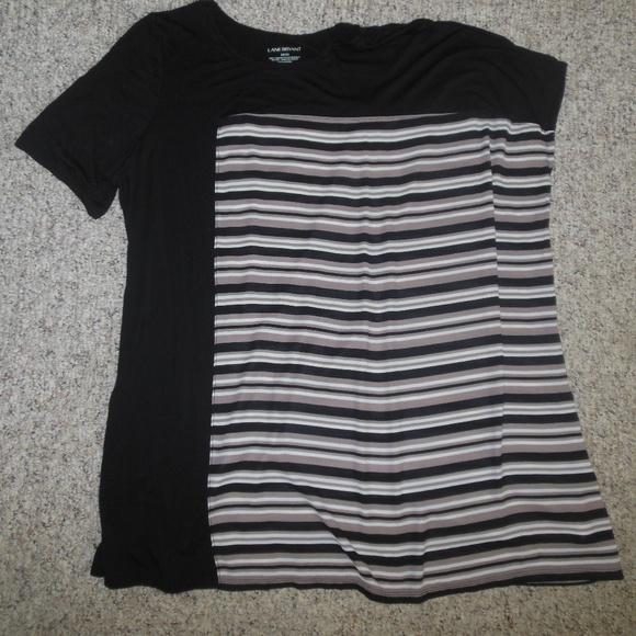 Lane Bryant Tops - Lane Bryant 14/16 Black Beige Full Cut Shirt Top